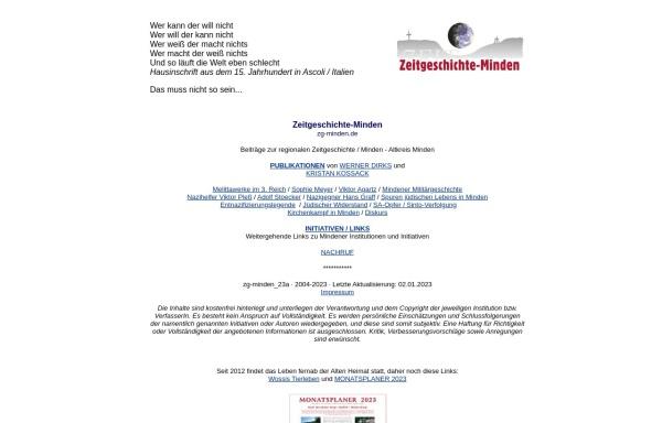 Vorschau von www.zg-minden.de, Zeitgeschichte Minden