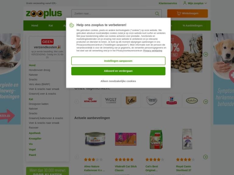 Zooplus.nl screenshot