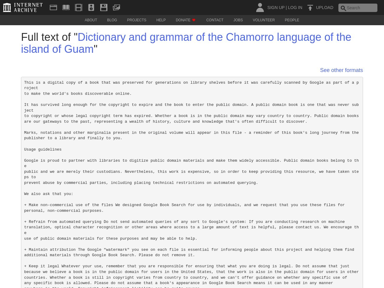 """Full text of """"Dictionary and grammar of the Chamorro language ..."""