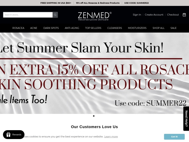 Zenmed Skin Care Products screenshot