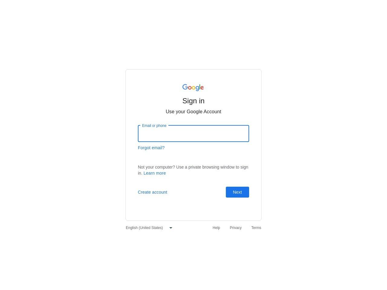 Google Web Page Login