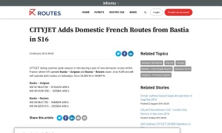 CITYJET Adds Domestic French Routes from Bastia in S16