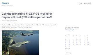 Lockheed Martins' F-22 F-35 hybrid for Japan will cost $177 million pe