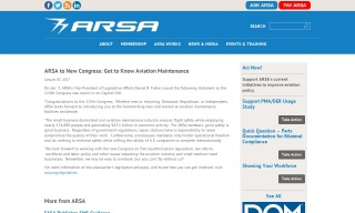 ARSA to New Congress: Get to Know Aviation Maintenance