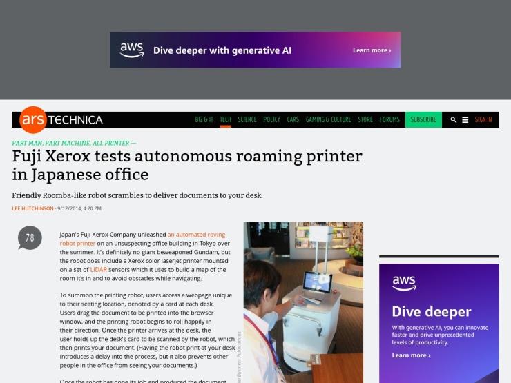 Fuji Xerox tests autonomous roaming printer