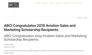 ABCI Congratulates 2019 Aviation Sales and Marketing Scholarship Recip