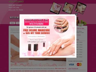 screenshot of Beverly Hills Nails & Spa's homepage