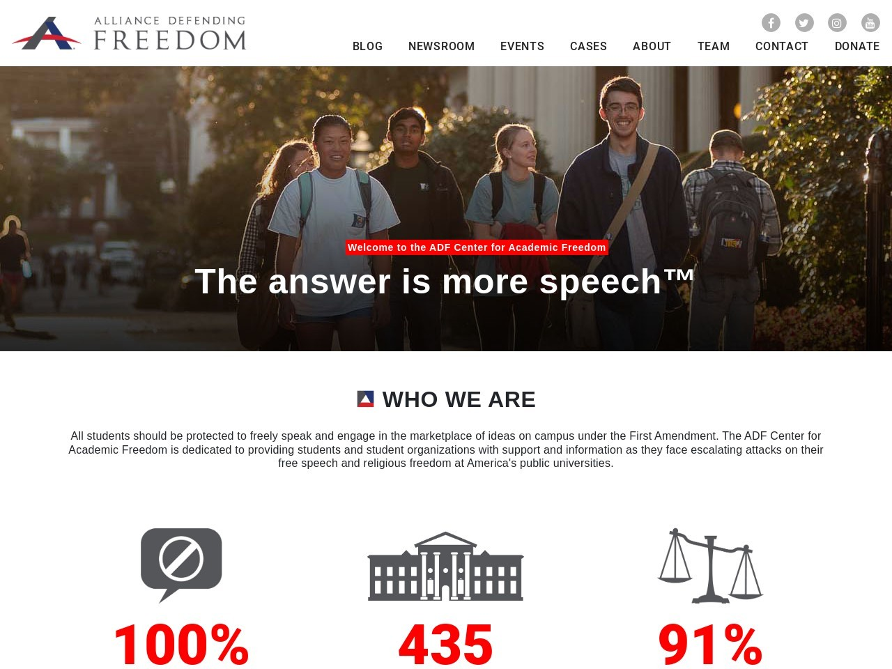 Screenshot of the website ADF Center for Academic Freedom