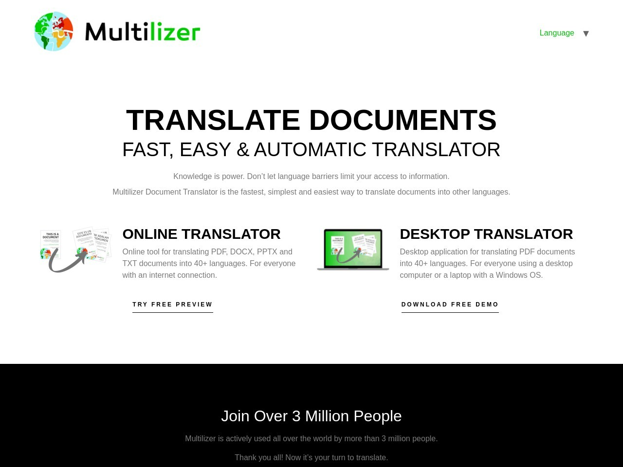 Multilizer PDF Translator