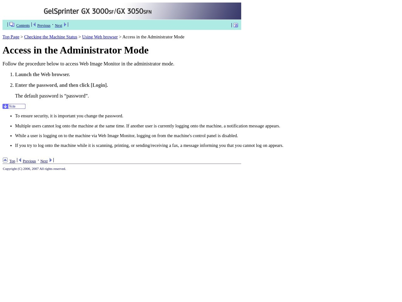 Access in the Administrator Mode - Ricoh