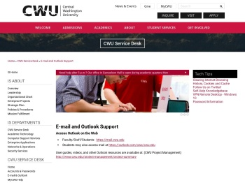 E-mail and Outlook Support | Central Washington University