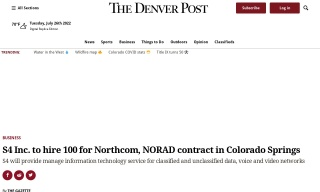 S4 Inc. to hire 100 for Northcom NORAD contract in Colorado Springs