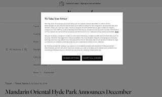 Mandarin Oriental Hyde Park Announces December Reopening