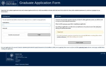 Application log-in Screen - University of Oxford