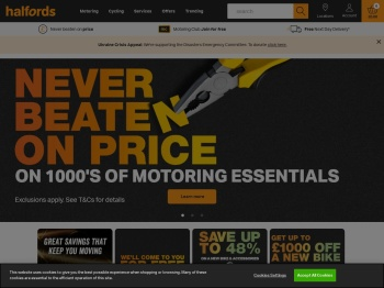 Halfords – Web Exclusive 50% Summer Sale