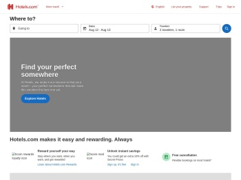 Hotels·com 50% off for 48 hours