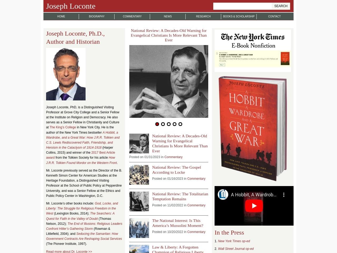 Screenshot of the website Joseph Loconte