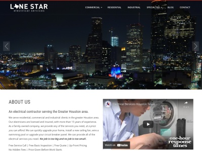 screenshot of Lone Star Electrical Services's homepage