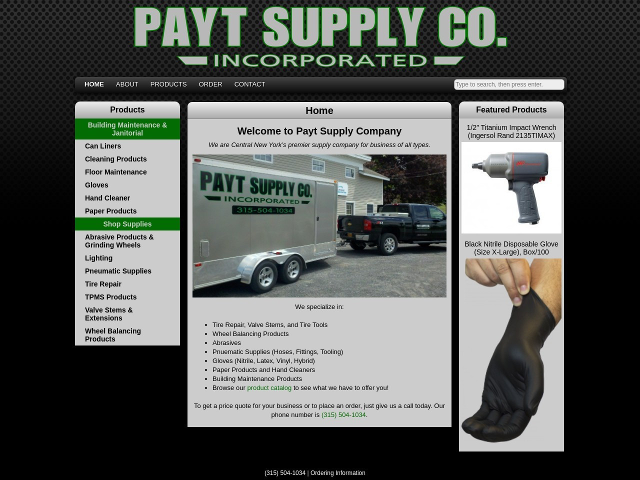 Screenshot of the website Payt Supply Company