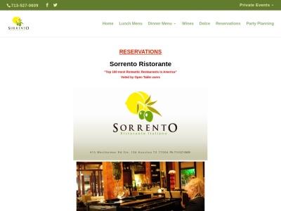 screenshot of Sorrento Ristorante's homepage