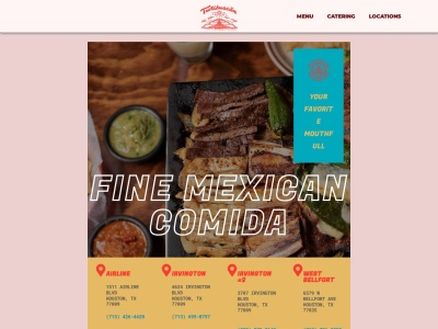 screenshot of Teotihuacan Mexican Cafe's homepage