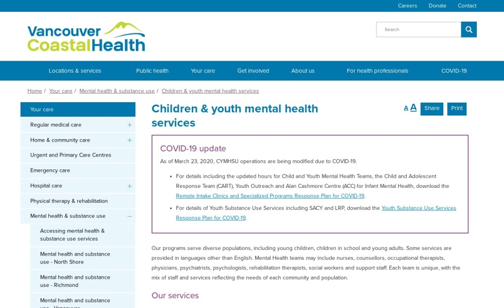 Vancouver Coastal: Mental Health
