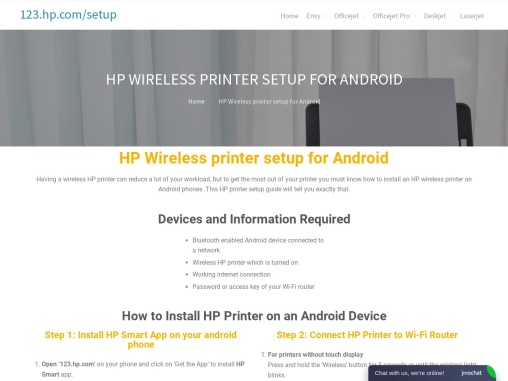 HP Wireless Printer Setup For android