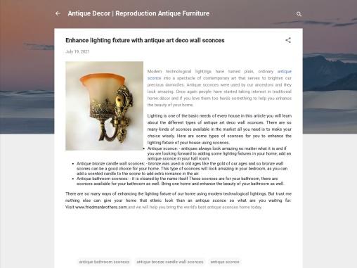 Enhance lighting fixture with antique art deco wall sconces