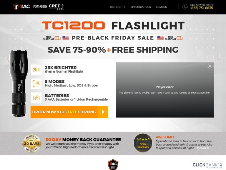 TC1200 PRO Tactical Flashlight screenshot