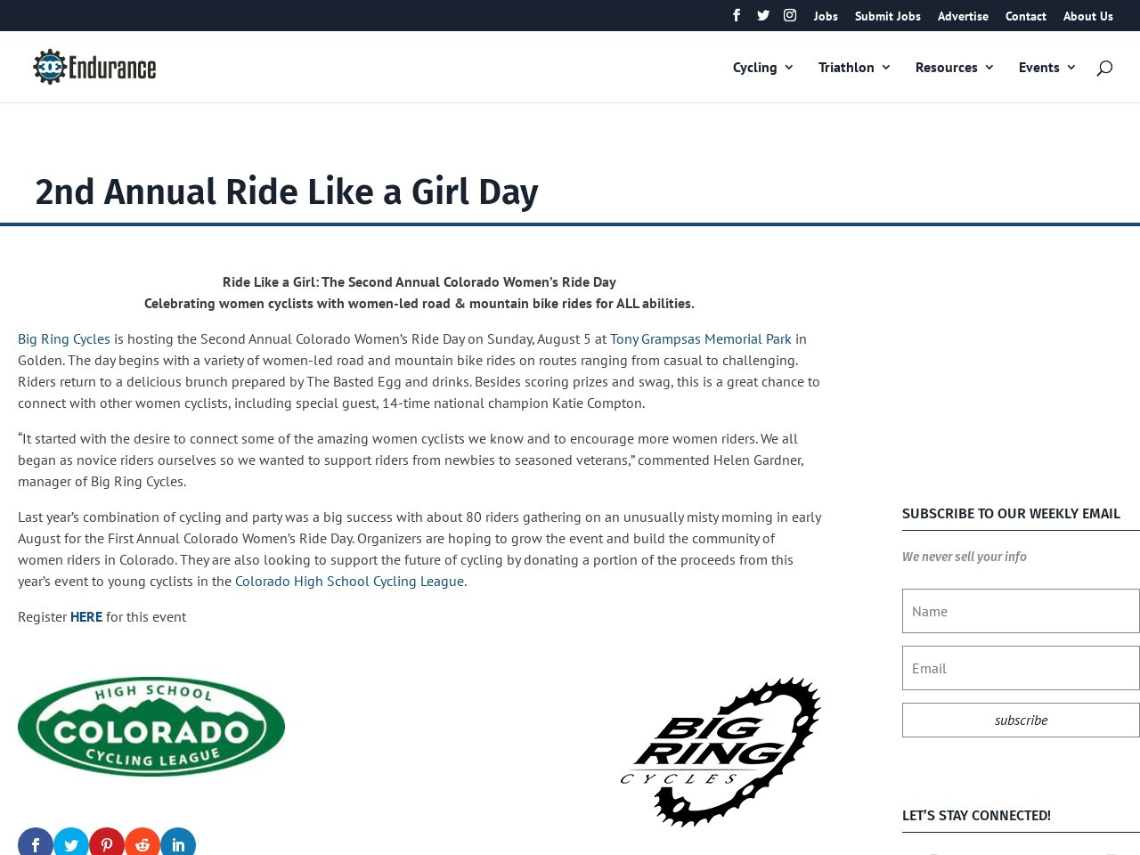 2nd Annual Ride Like a Girl Day