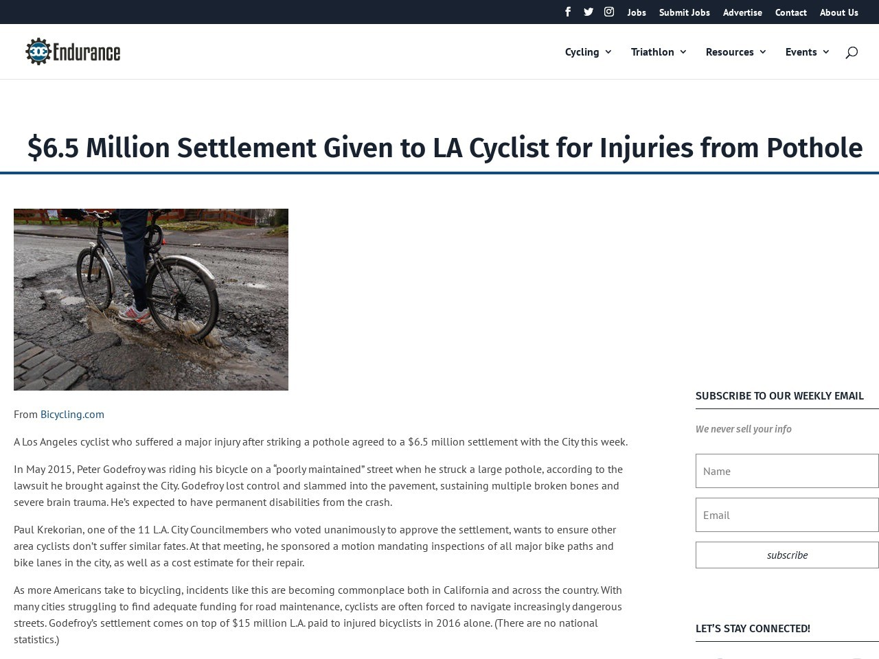 $6.5 Million Settlement Given to LA Cyclist for Injuries from Pothole