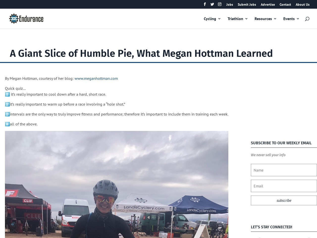 A Giant Slice of Humble Pie, What Megan Hottman Learned