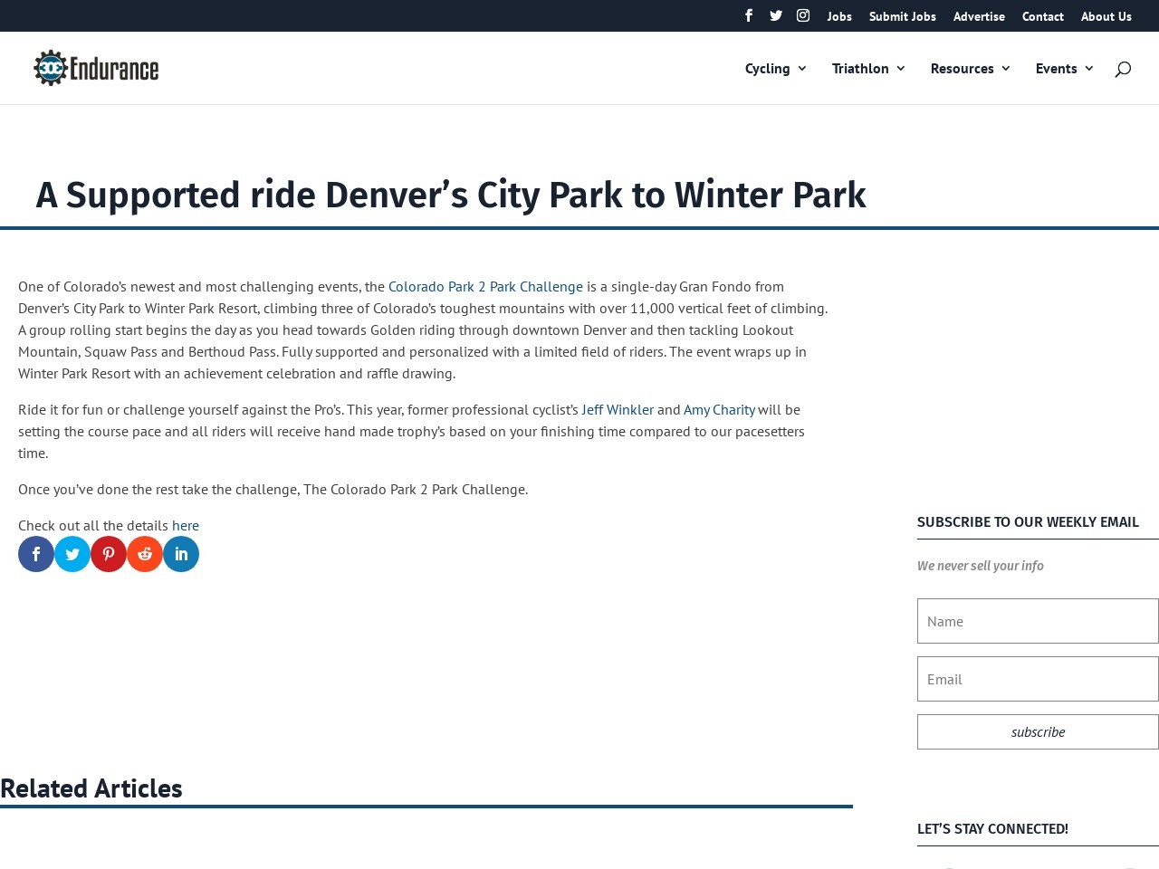 A Supported ride Denver's City Park to Winter Park
