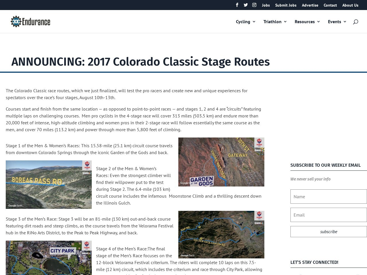ANNOUNCING: 2017 Colorado Classic Stage Routes
