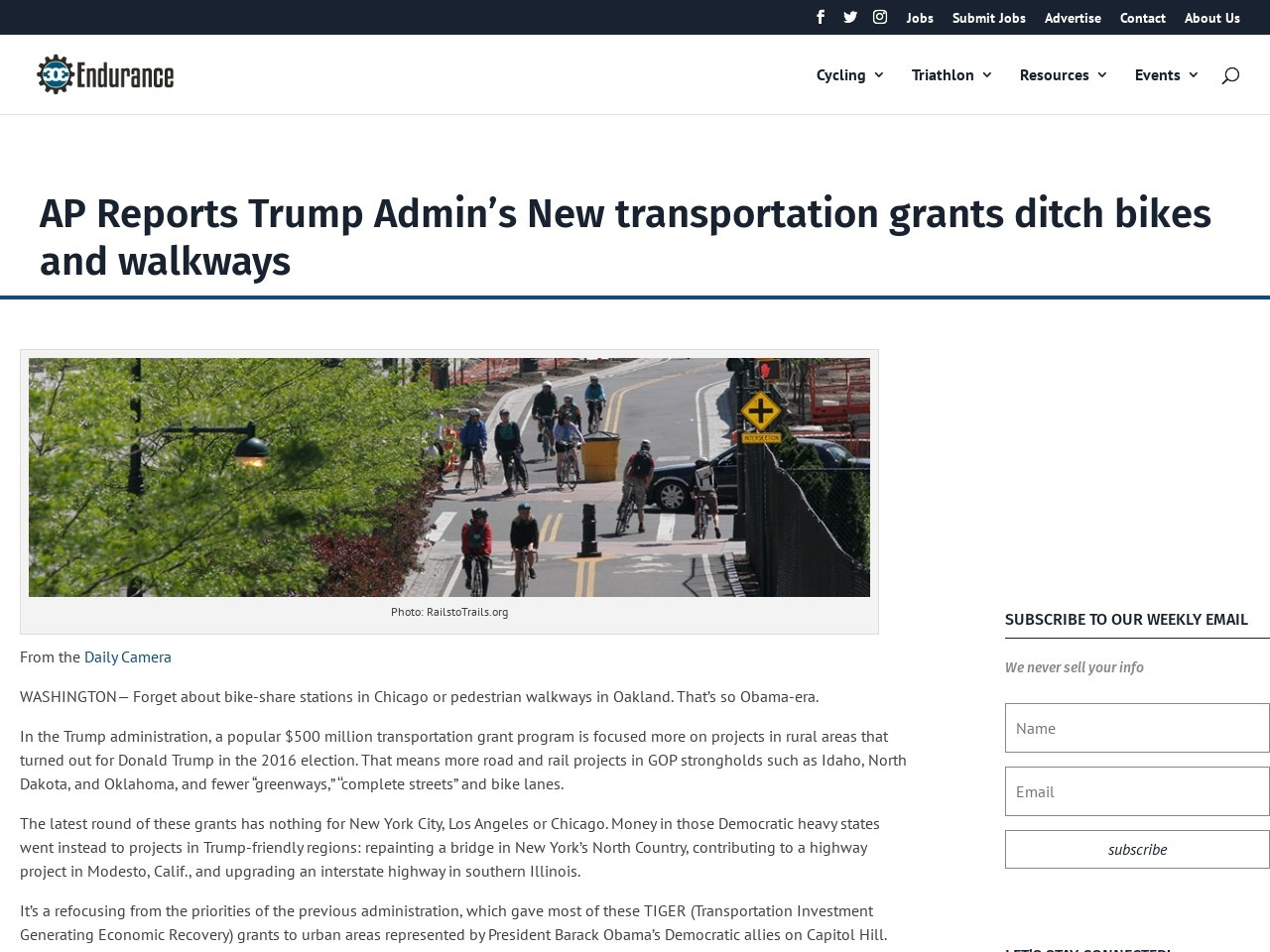 AP Reports Trump Admin's New transportation grants ditch bikes and walkways