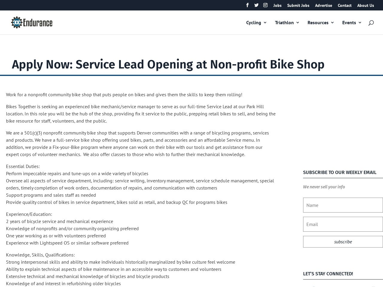Apply Now: Service Lead Opening at Non-profit Bike Shop