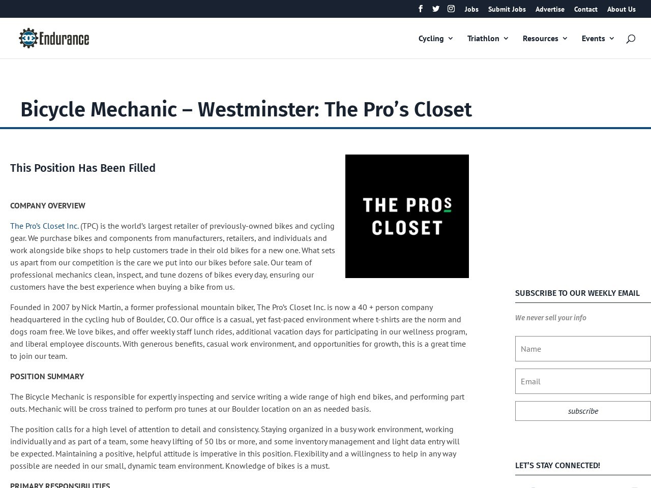 Bicycle Mechanic – Westminster: The Pro's Closet