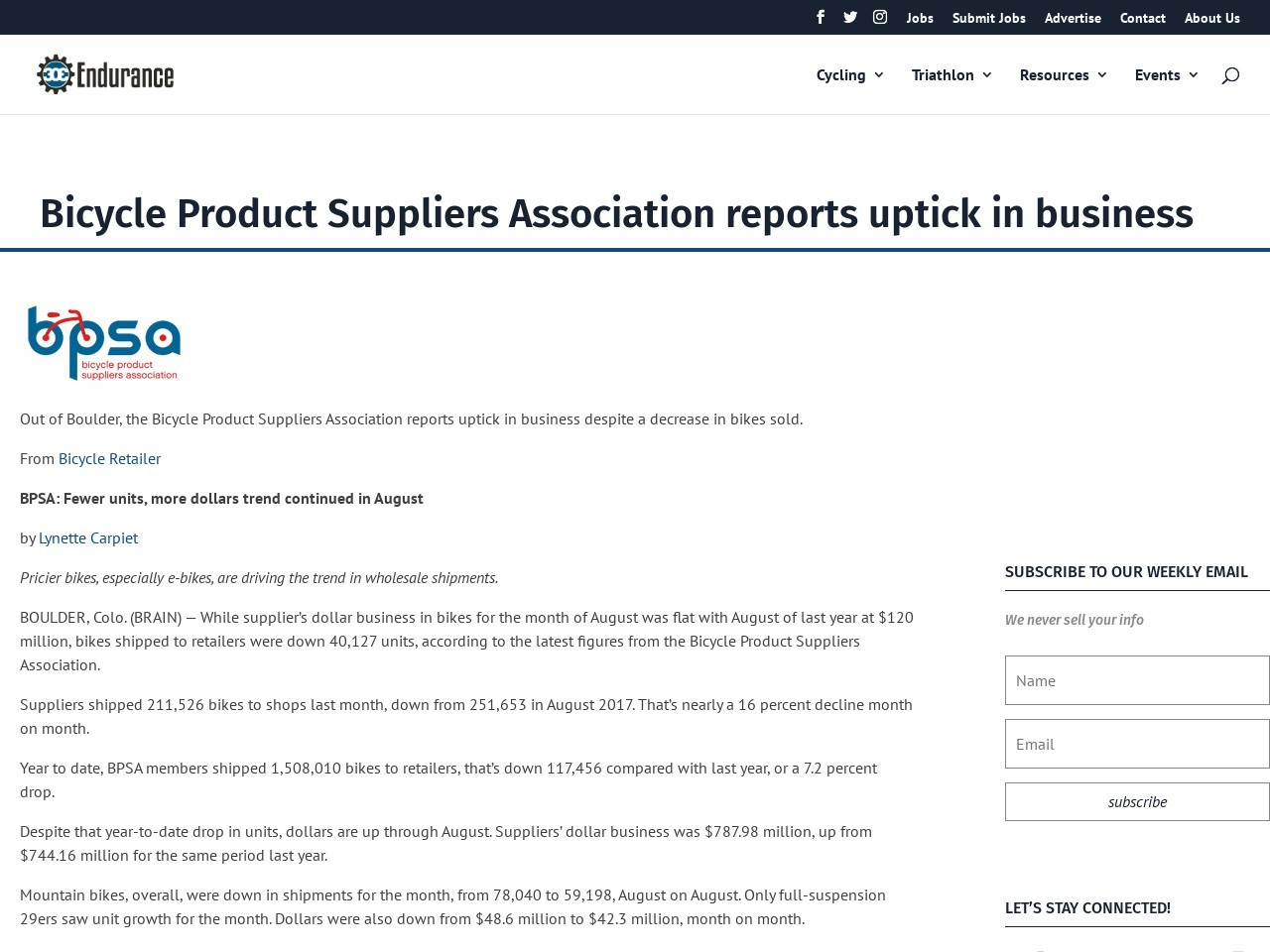 Bicycle Product Suppliers Association reports uptick in business