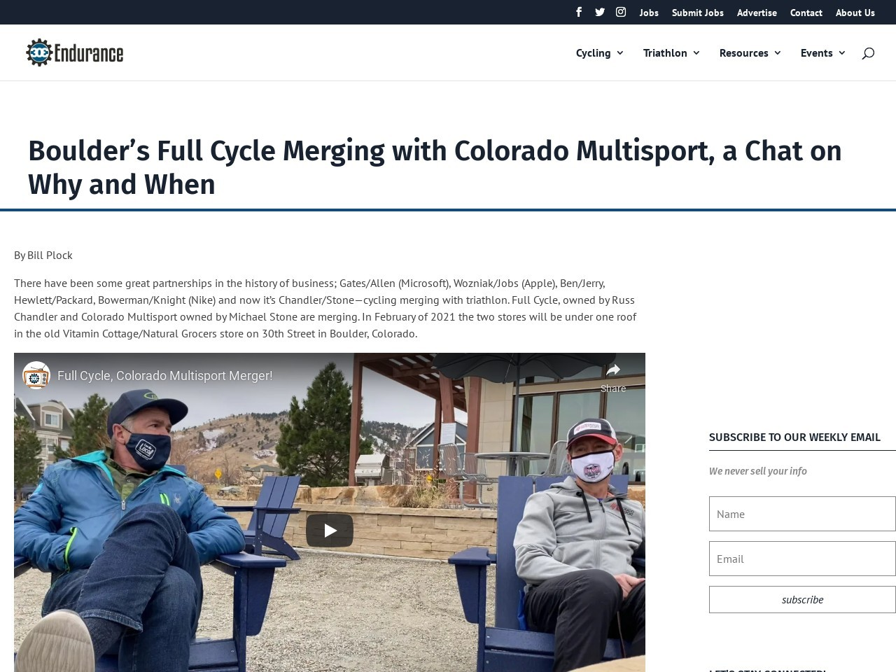 Boulder's Full Cycle Merging with Colorado Multisport, a Chat on Why and When