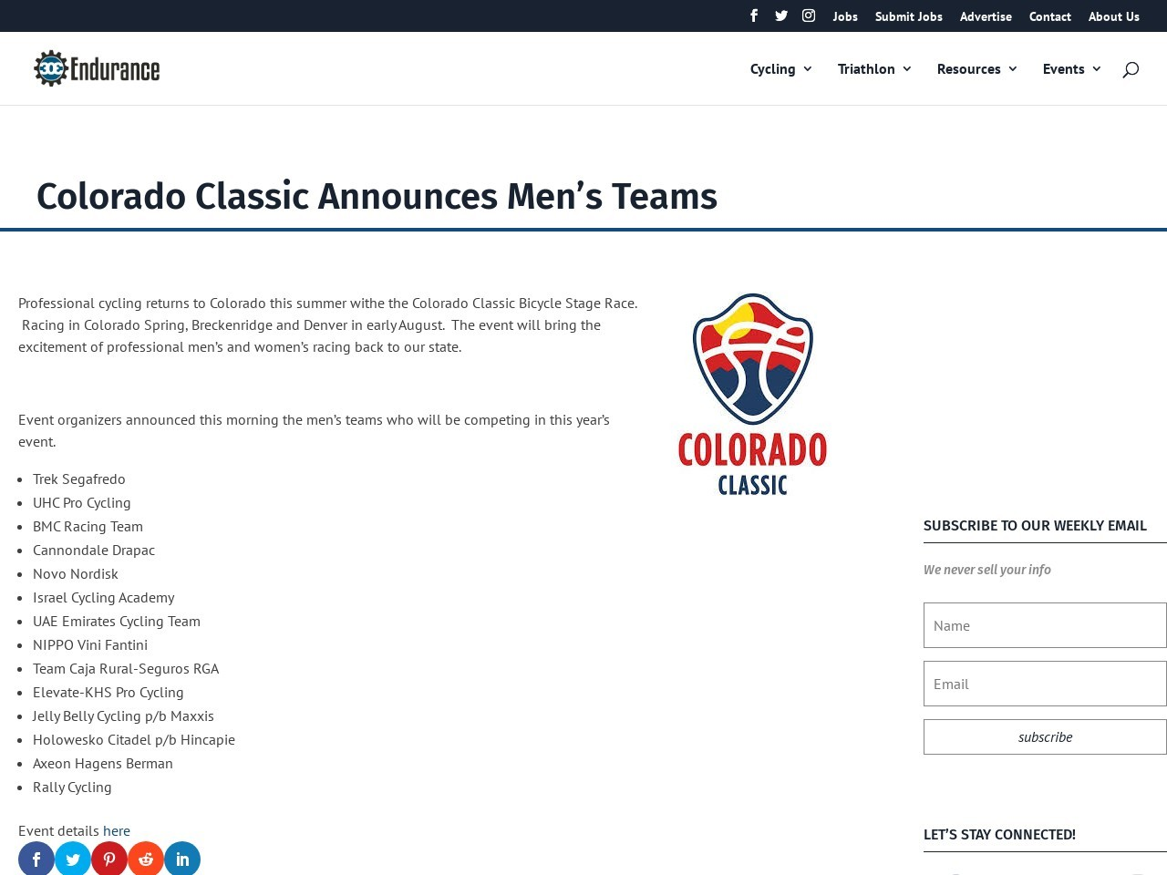 Colorado Classic Announces Men's Teams