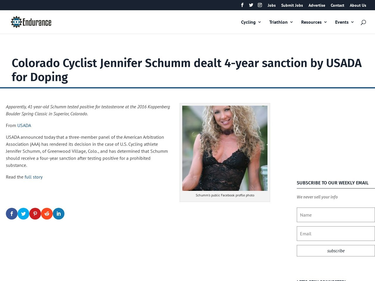 Colorado Cyclist Jennifer Schumm dealt 4-year sanction by USADA for Doping