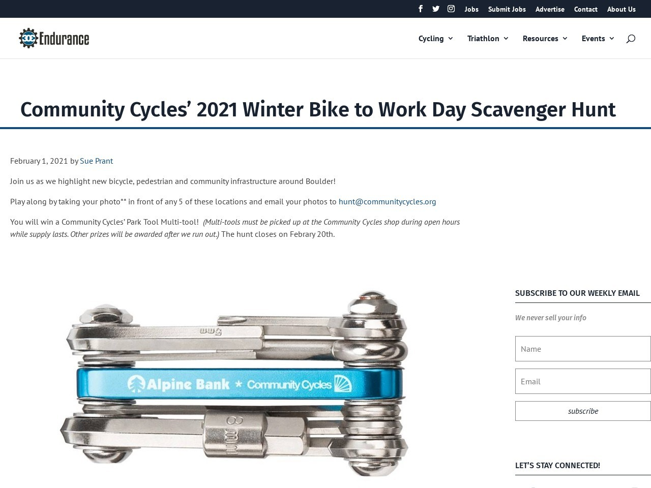 Community Cycles' 2021 Winter Bike to Work Day Scavenger Hunt