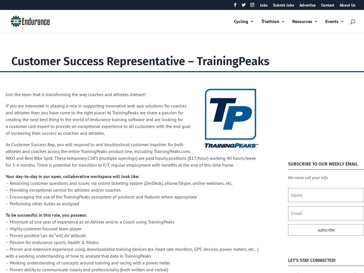 Customer Success Representative – TrainingPeaks