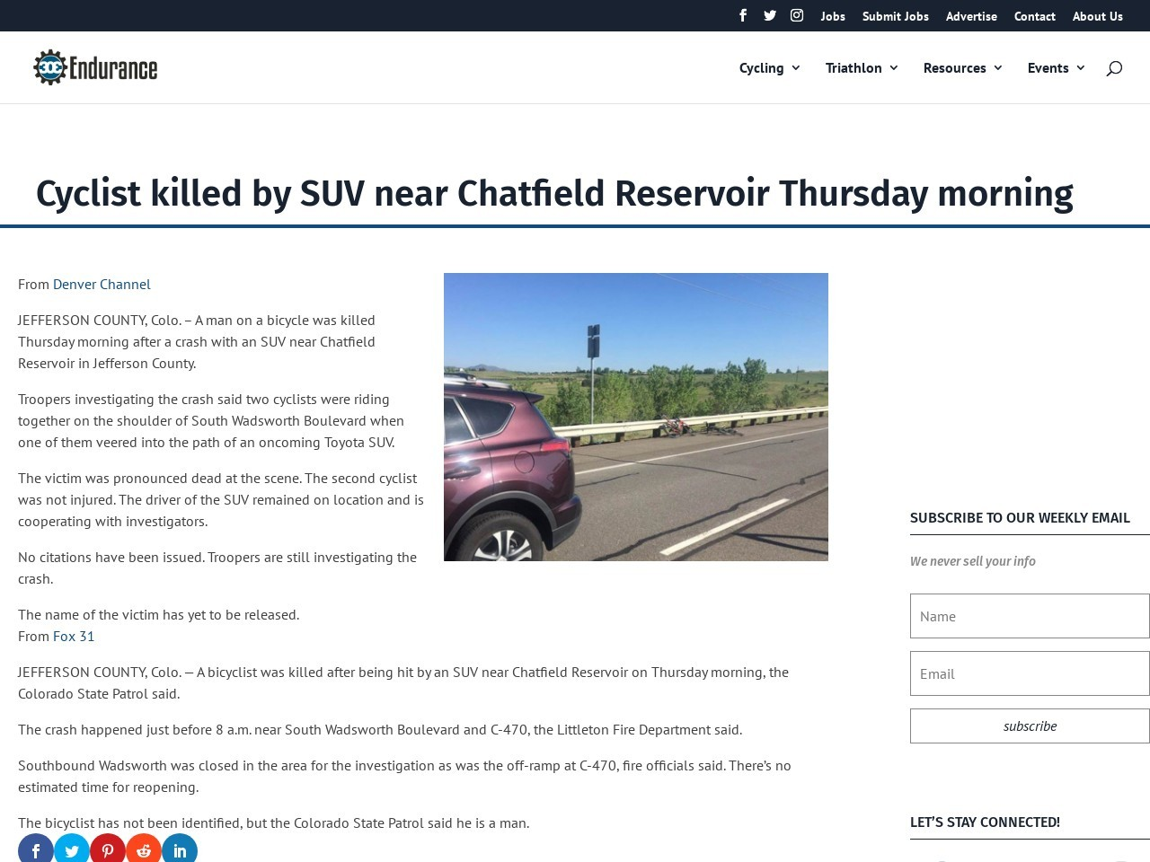 Cyclist killed by SUV near Chatfield Reservoir Thursday morning