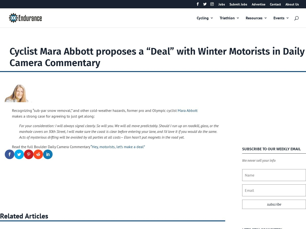 "Cyclist Mara Abbott proposes a ""Deal"" with Winter Motorists in Daily Camera Commentary"
