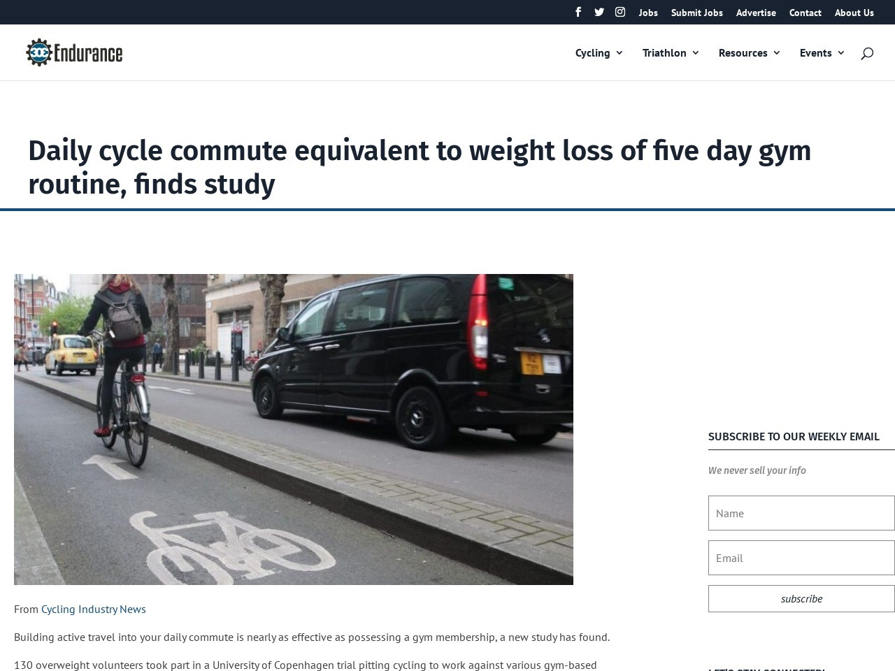 Daily cycle commute equivalent to weight loss of five day gym routine, finds study