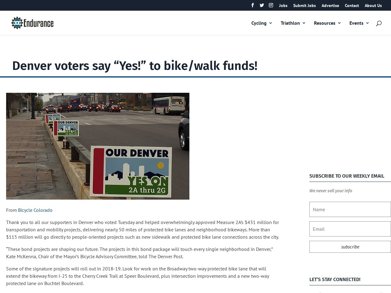 "Denver voters say ""Yes!"" to bike/walk funds!"