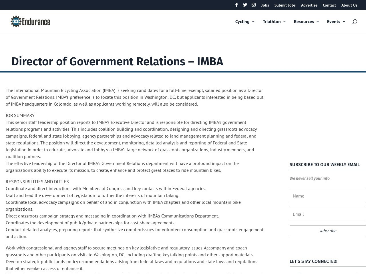 Director of Government Relations – IMBA