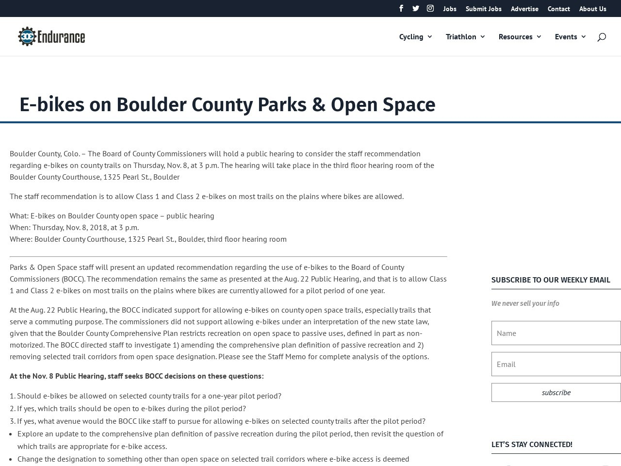 E-bikes on Boulder County Parks & Open Space