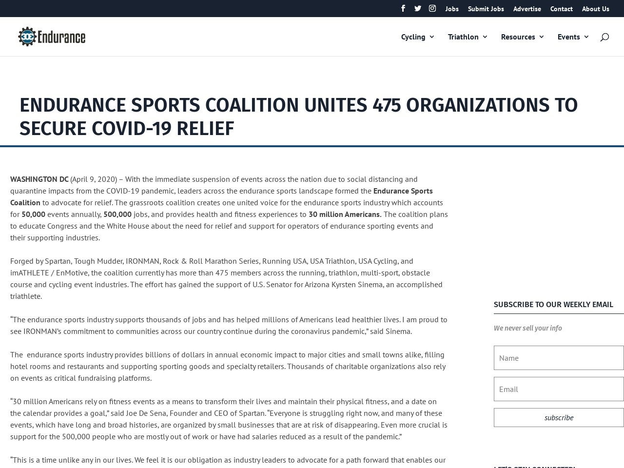 ENDURANCE SPORTS COALITION UNITES 475 ORGANIZATIONS TO SECURE COVID-19 RELIEF